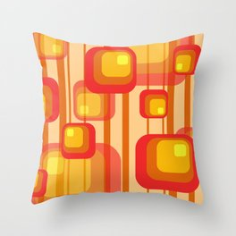 Vintage Design Red orange yellow rectangles Throw Pillow