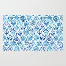 PAISLEY MERMAID Watercolor Scale Pattern Rug