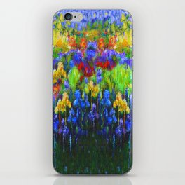 BLUE YELLOW IRIS GREEN GARDEN PAINTING iPhone Skin