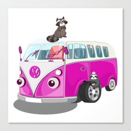 Cute pink bus Canvas Print