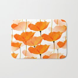 Orange Poppies On A White Background #decor #society6 #buyart Bath Mat