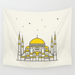 Hagia Sophia icon and vector. City travel landmark, tourist attractions in Istanbul Wall Tapestry