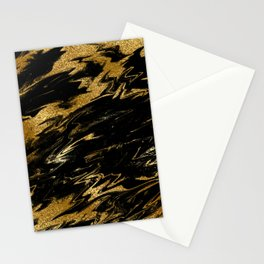 Luxury and sparkle gold glitter and black marble Stationery Cards