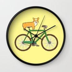 Corgi on a bike Wall Clock