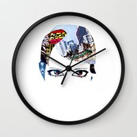 60s Wall Clocks featuring '60s Eyes- Original Color by Katy Rose
