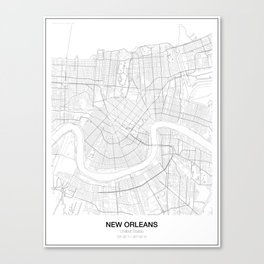 New Orleans, United States Minimalist Map Canvas Print