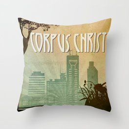 Corpus Christi Retro Poster Throw Pillow
