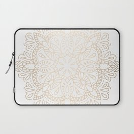 Mandala White Gold Shimmer by Nature Magick Laptop Sleeve