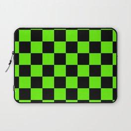 Checkered Pattern: Black & Slime Green Laptop Sleeve