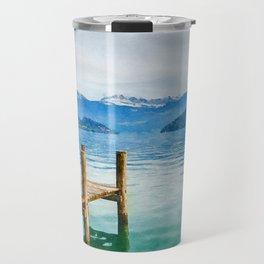 Pier on the lake watercolor painting  Travel Mug