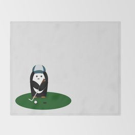Putting Penguin Throw Blanket