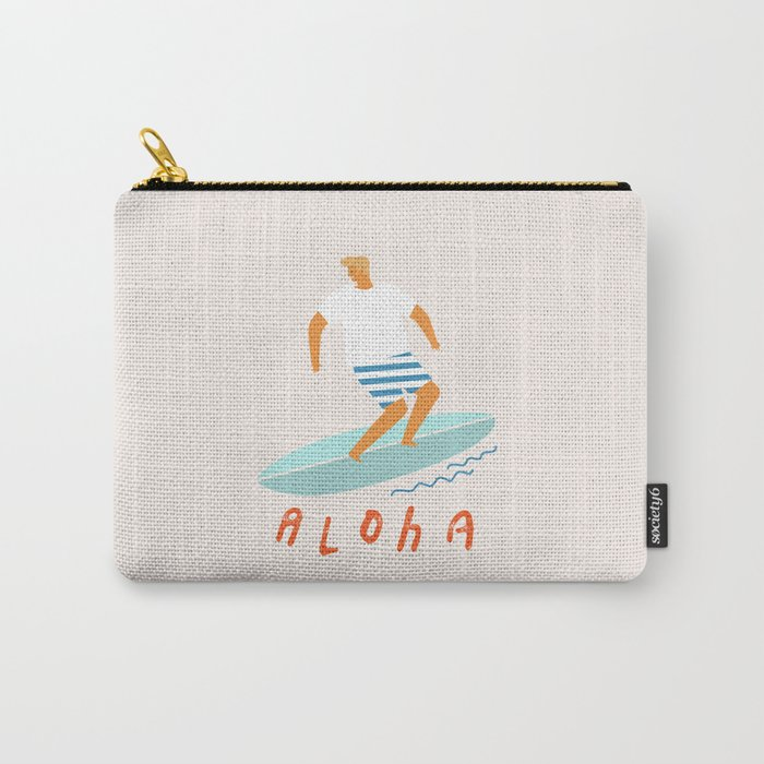 Surfer aloha poster Carry-All Pouch