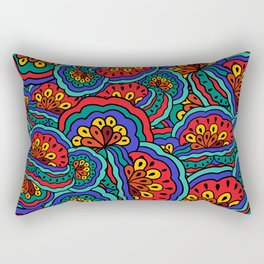 1960's Hippie Psychedelic Retro Pattern in Red & Blues Rectangular Pillow