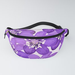 Purple wildflowers on a white background - spring atmosphere Fanny Pack