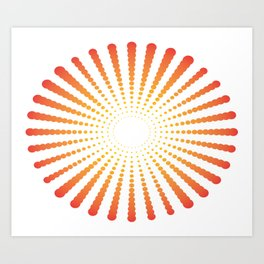 ORANGE DOTS SWIRL ON A WHITE BACKGROUND Abstract Art Art Print