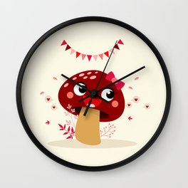 Champignon bordeaux Wall Clock