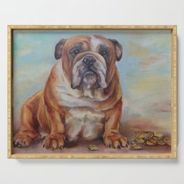 Dogmoney Funny portrait of English Bulldog with cash money Oil painting on canvas Serving Tray