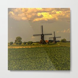 Windmills at the Waal, the Netherlands  Metal Print