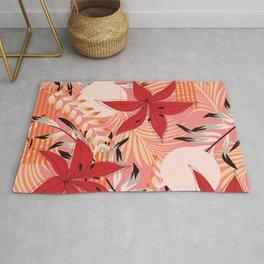 Retro Red Flowers on Coral Rug