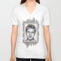 brad pitt V-neck T-shirts featuring Brad Pitt in 2006 by JMcCombie