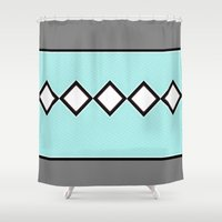 charlie brown Shower Curtains featuring Charlie Blue by Bunhugger Design