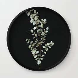 Baby Blue Eucalyptus Watercolor Painting on Charcoal Wall Clock