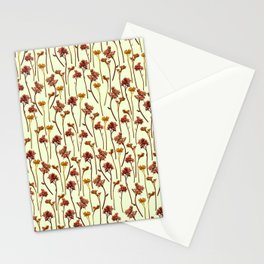 Flowers Pattern on Yellow Stationery Cards