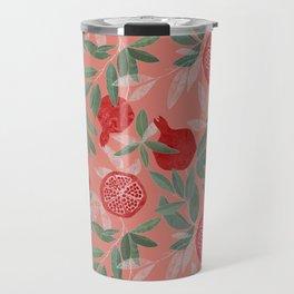 Pomegranate garden on peach pink Travel Mug