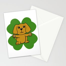 Dog On Four Leaf Clover- St. Patricks Day Funny Stationery Cards