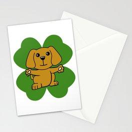 Dog On Four Leaf Clover- St. Patricks Day Funny Stationery Cards