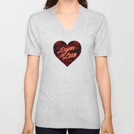 Inspirational love quotes retro neon sign, Valentine's red black hearts bokeh pattern Unisex V-Neck