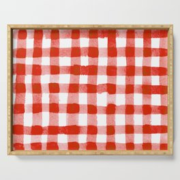 Handpainted Classic Gingham Pattern Tomato Red Serving Tray