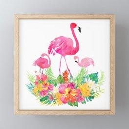 Pink flamingos & tropical flowers Framed Mini Art Print