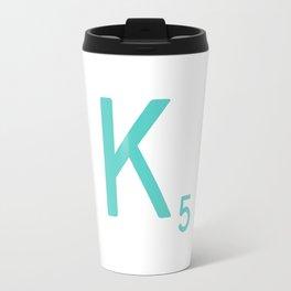 Custom Scrabble Wall Art Blue Letter K Travel Mug