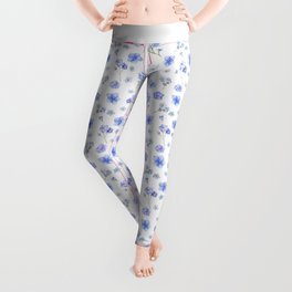 Elegant blush blue yellow watercolor floral pattern Leggings