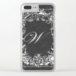 W Vintage Wild Rose Chalkboard Clear iPhone Case