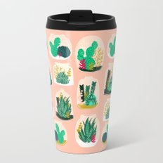 Terrariums - Cute little planters for succulents in repeat pattern by Andrea Lauren Metal Travel Mug