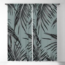 Black Palm Leaves Dream #4 #tropical #decor #art #society6 Blackout Curtain