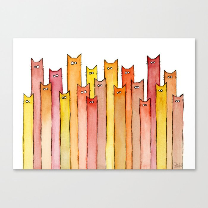 Cats Autumn Colors Pattern Whimsical Cat Orange Red Yellow Animals Canvas Print