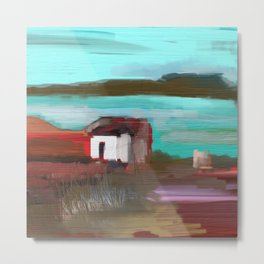 Old Shack by the Lake Metal Print