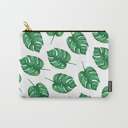 Watercolor Monstera Pattern | Minimal Monstera Leaves pattern Carry-All Pouch