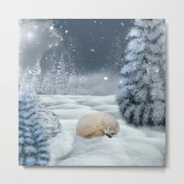 Sleeping polar fox Metal Print
