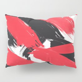 Modern Abstract Black Red Brush Strokes Pattern Pillow Sham