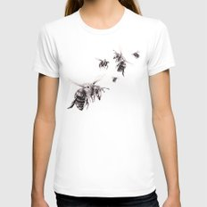Crown of Bees Womens Fitted Tee White MEDIUM
