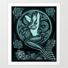 Blue Mermaid - Monochrome Art Print