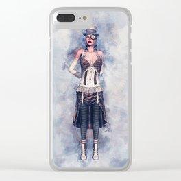 Steampunk Girl Clear iPhone Case