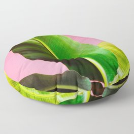 Banana Palm on Pink Floor Pillow