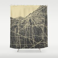 cleveland Shower Curtains featuring Cleveland map by Map Map Maps