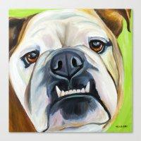 english bulldog Canvas Prints featuring English Bulldog by Melissa Smith Pet Art