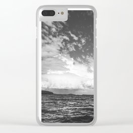 Black And White Lake Landscape - White Cumulus Clouds - Scandinavia - #Society6 #buyart Clear iPhone Case